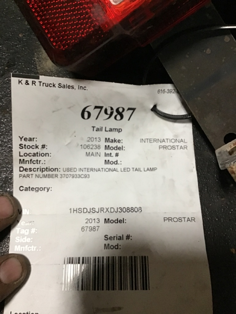 Used Tail Lamp for 2013 INTERNATIONAL PROSTAR for sale-59335718