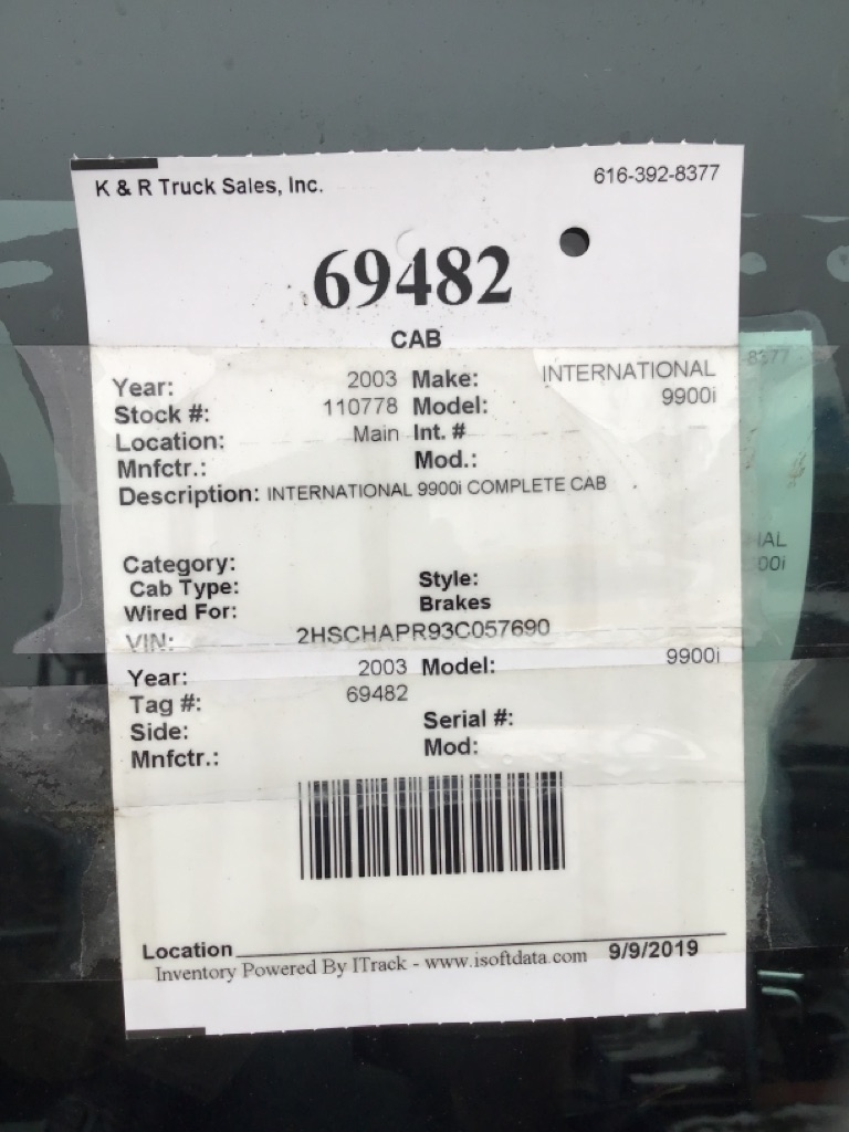 Used Cab for 2003 INTERNATIONAL 9900i for sale-59335995