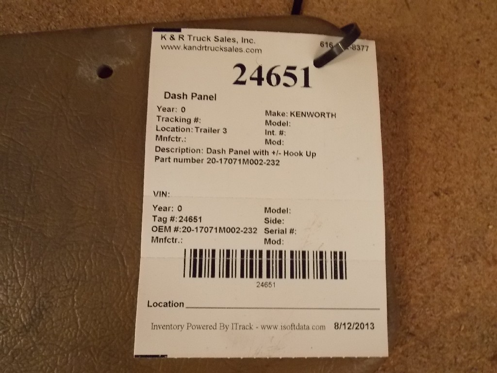 Dash Panel for  KENWORTH for sale-59052659
