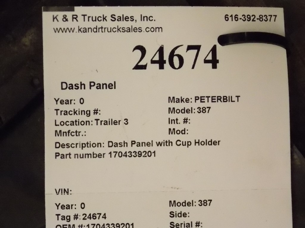 Dash Panel for  PETERBILT 387 for sale-59070424