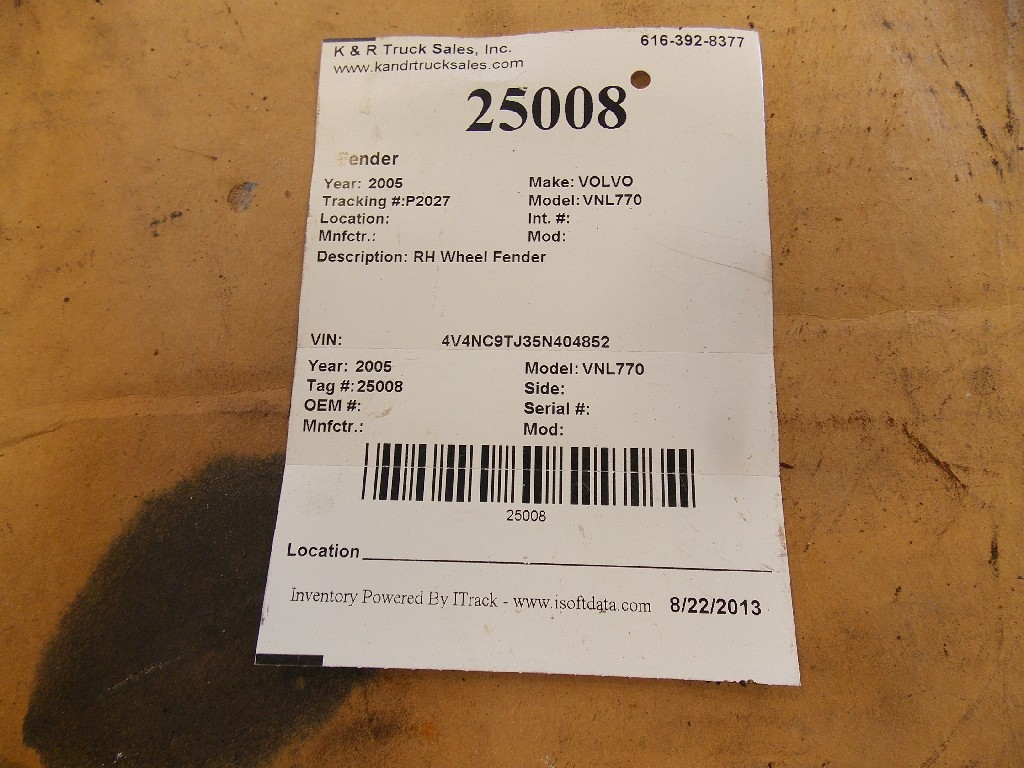 Fender for 2005 VOLVO VNL770 for sale-59070440