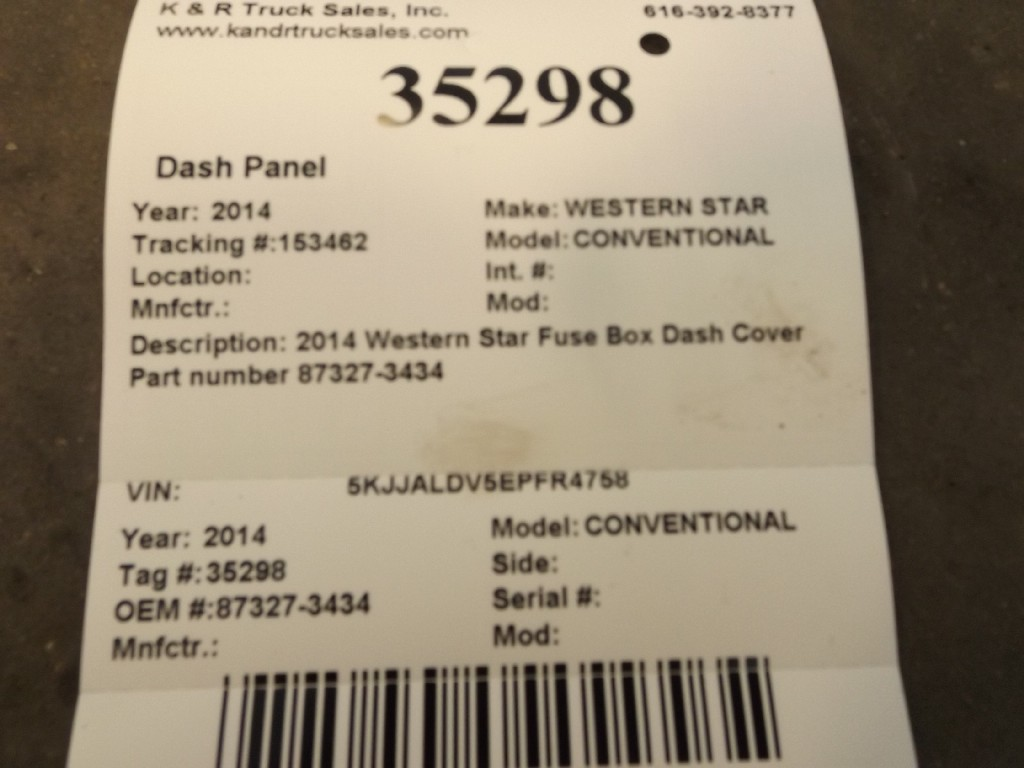 Dash Panel for 2014 WESTERN STAR CONVENTIONAL for sale-59053650