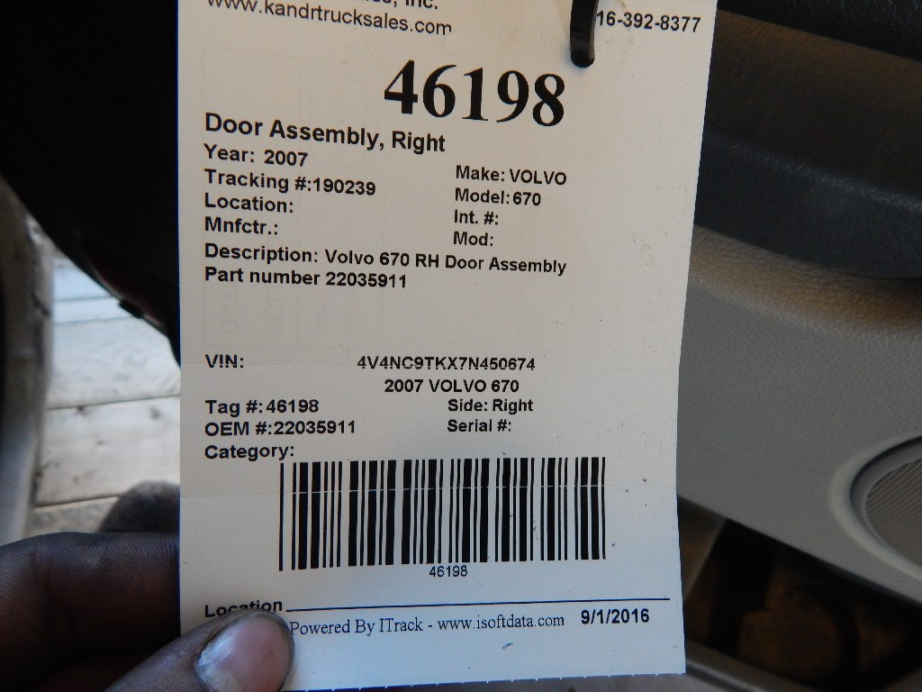 Door Assembly for 2007 VOLVO 670 for sale-59216530