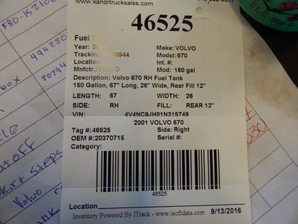 Fuel Tank for 2001 VOLVO 670 for sale-59216573