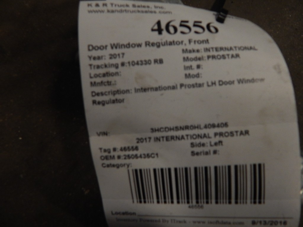 Door Window Regulator for 2017 INTERNATIONAL PROSTAR for sale-59216580