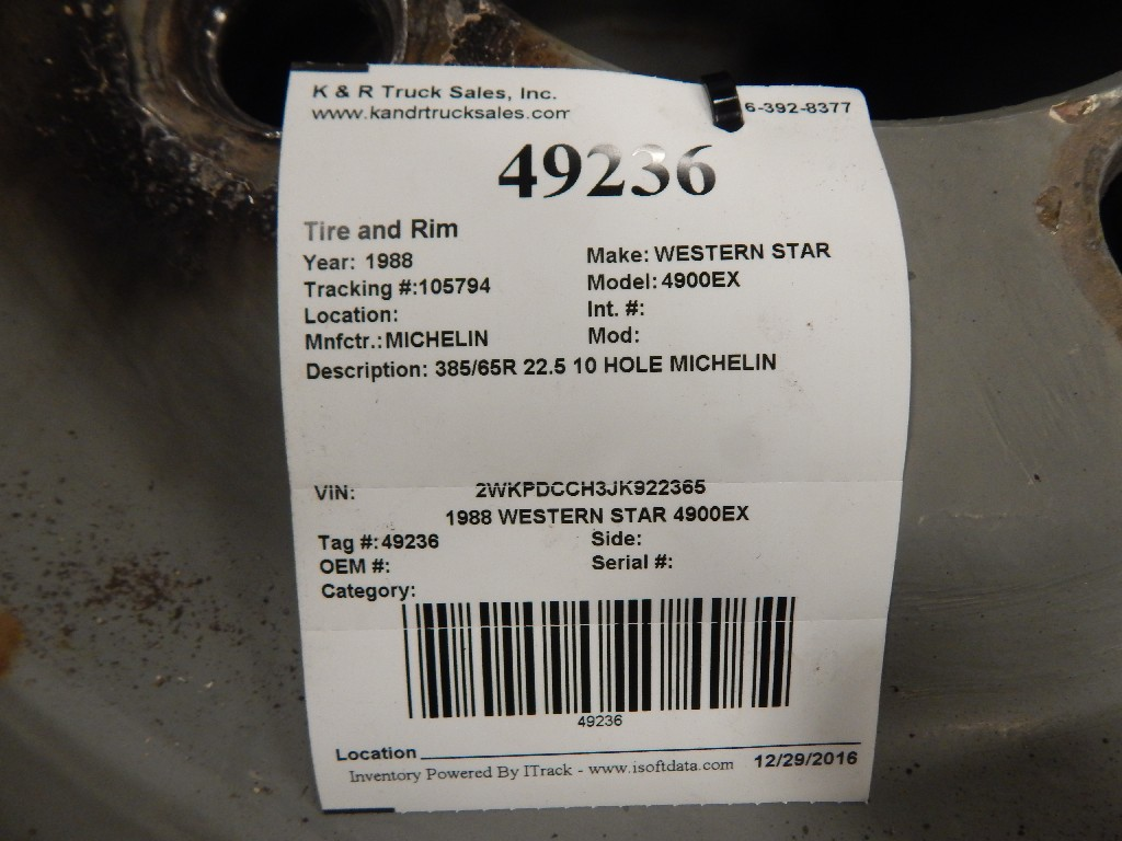 Wheel for 1988 WESTERN STAR 4900EX for sale-59216849