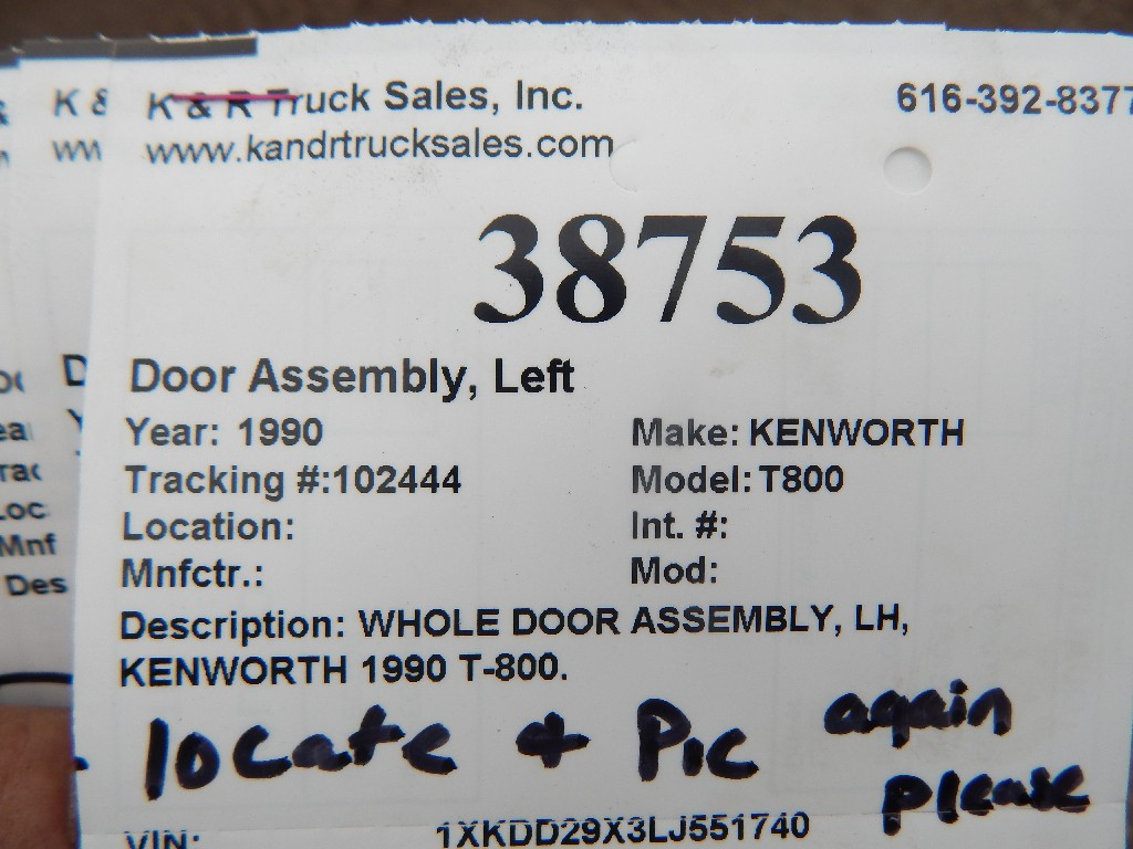 Door Assembly for 1990 KENWORTH T800 for sale-59215698